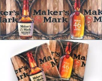 Ultimate Makers Bourbon inspired Gift Set; makers mark, stock the bar, barware, drinkware, man cave, art print, wall decor, hostess, wedding