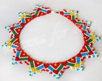 Ukrainian national color bead necklace - sylyanka