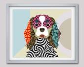 Cavalier King Charles Spaniel Art Print, Dog Portrait, Pop Art Dog, Cavalier King Art, Cavalier Spaniel, Dog Lover Gifts