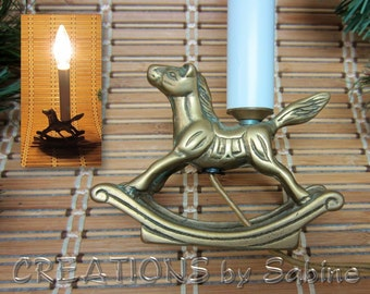 Brass Rocking Horse Christmas Light Children's Room Lamp Candle Design Mid Century Collectible Window Decor Vintage FREE SHIPPING (518)