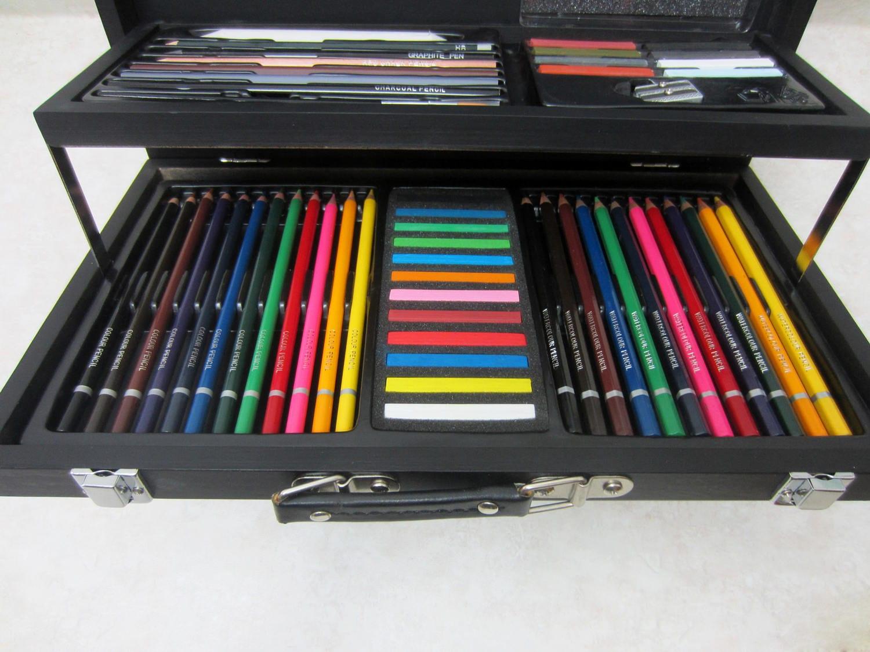 L piz de dibujo arte kit en madera lleva agua caso color - Mesa de dibujo portatil ...