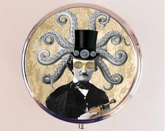 Steampunk Edgar Allan Poe Pill Box Case Pillbox Holder Trinket Box Altered Collage Art Victorian Ray Gun Octopus