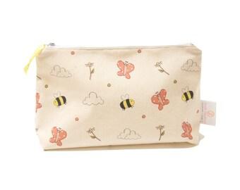 Girl's Wash Bag - Meadow Print | Limited Edition Girl's Wash Bag | Bees Butterflies Daisy Print Bathroom Bag