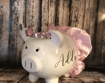 Customized White Princess with crown and tutu Piggy Bank