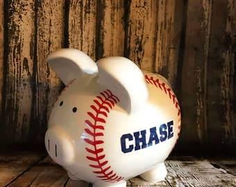 Large boy baseball piggy bank, little league piggy,little slugger bank,college fund, boys bank, boys gifts, money counter, coin holder