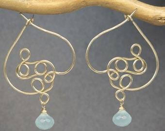 Hammered squiggle hoops choice of stone (turquoise shown) Nouveau 150