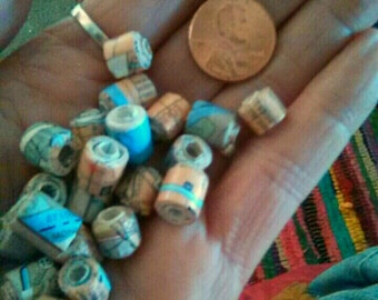 Handmade paperbeads from paper map of St Louis,MO