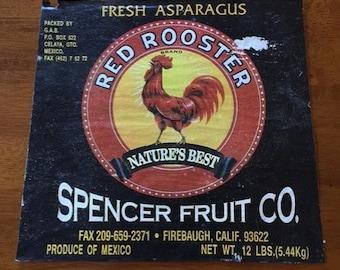 Packing Shipping Crate Label Paper Ephemera Red Rooster Asparagus Vegetable Advertising Natures Best Fruit Barnyard Bird Decoupage Print