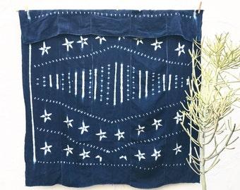 Vintage African Indigo Fabric with stars, Indigo Throw African Throw Blanket African Indigo Textile Indigo Cloth Indigo Beach Blanket #41
