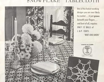 Vintage Timesaver Design Snowflake Tablecloth Crochet Pattern Coats & Clark PDF Download