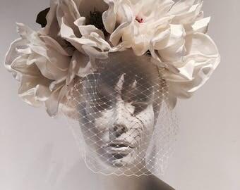 Ivory Fascinator- Birdcage headpiece- Magnolia Headband- Magnolia Headpiece- Derby Fascinator- Flower headdress- Bridal Hair accessory.