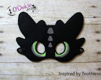 Toothless Inspired Childrens Dress Up Mask