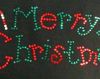 Merry Christmas 2 -  Rhinestone Iron On Transfer -  DIY Project Hot Fix Rhinestone Applique - Holiday Christmas Bling