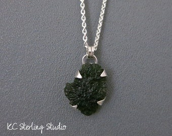 Natural moldavite and sterling silver pendant necklace metalsmith silversmith