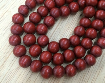 Dyed Wood Beads, Red Brown, 8mm Round - 15.5 inch Strand - eW101-8
