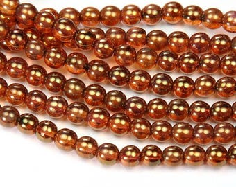 Rose Gold Topaz Luster Czech Glass Beads, 6mm Round - 50 pcs - e65491-06