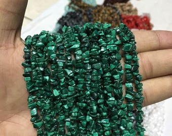 35 inches of natural malachite chip beads