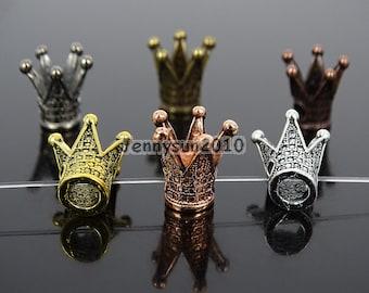 Vintage Antique Solid Metal King Crown Big Hole Bracelet Connector Charm Beads Findings