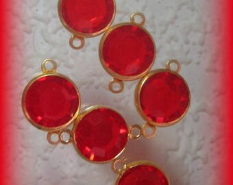 Light Siam, Red, Rhinestone, 16MM, Channel, Crystal, Round, Brass, 2 Ring, Connector,