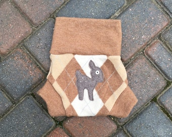 Cloth Diaper Cover, Wool Soaker, Shorties, Nappy Cover - Tan and Brown Argyle Print with a Fawn Applique - Size Medium