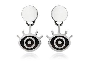 Sterling Silver Eye Earrings, Evil Eye Jewelry