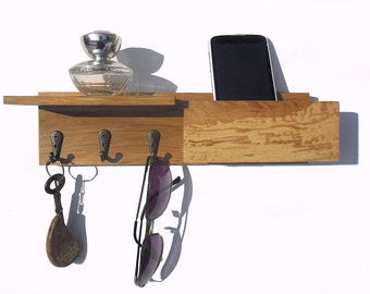 """12"""" wooden key rack with mailbox"""
