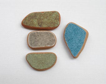 Green/Petrol Blue/Gray  Painted Terracotta, Sea Beach Pottery, Pendant Supplies, Mosaic Craft,