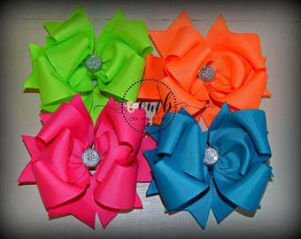 SET of 4 Neon Solid Color Boutique Style Bows -  Hair Bows - Hairbows - Summer Bows - Bright Bows - Over the Top - OTT - Neon Bow