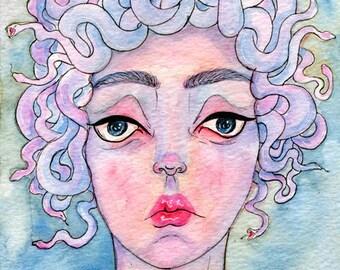 "Original Watercolor 5x7"" - Medusa"