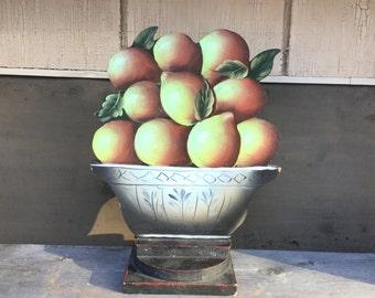 Folk Art Kitchen Decor - Wood Lemon Still Life - Primitive Fruit Stand