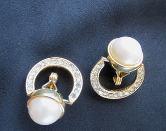 Monet gold tone clip on faux pearl and rhinestone earrings