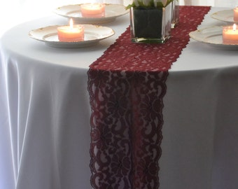"BURGUNDY LACE Table runner  8"" wide 3FT-14 Ft length / Cut lace not hemmed /  Table Runner Lace /Free Sample cuttings/final inventory"