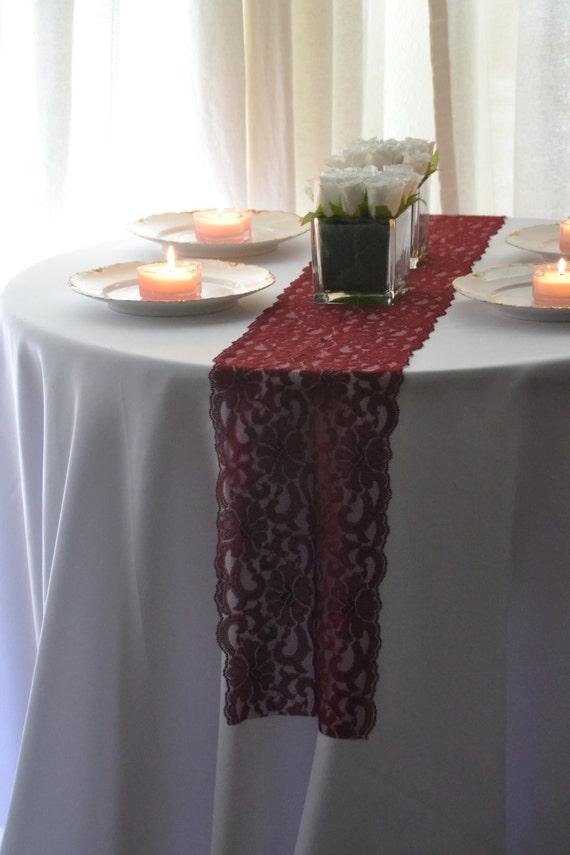 Burgundy lace table runner 8 wide 3ft 10 ft length for 10 ft table runner
