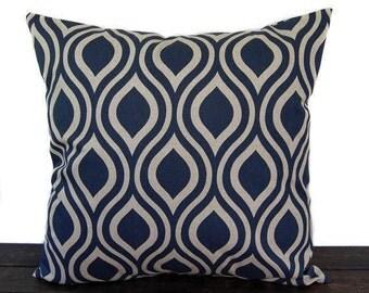 Navy Indigo Blue pillow cover, throw pillow, one navy and oatmeal cushion cover pillow sham Nicole modern home decor