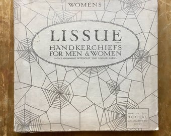 1940's Lissue Handkerchiefs Set with Spiderweb Box--Made in England---A Tootal Product