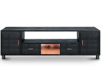 Media Console Annette. Solid wood Furniture. Black Furniture. Copper Furniture. Handmade furniture