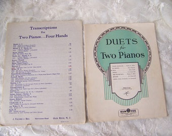 Vintage Duets Piano Music (lot of 2)Vintage Sheet Music.Duets Sheet Music.Musician Gifts.Old Sheet Music.Piano Sheet Music.Sheet Music Pages