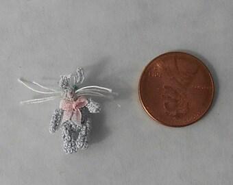 Micro crochet Blue Bunny Rabbit Doll for smaller scale dollhouse or room box. Easter. Miniature Amigurumi.  Artist Doll/Miniature Toy.