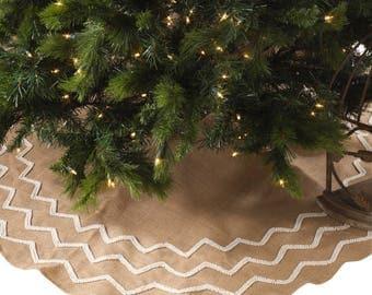 christmas tree skirt beaded burlap natural white tree skirt beaded tree skirt - White Christmas Tree Skirt