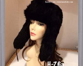 H-96 Vintage Black Rabbit Fur Hat Ushanka Small