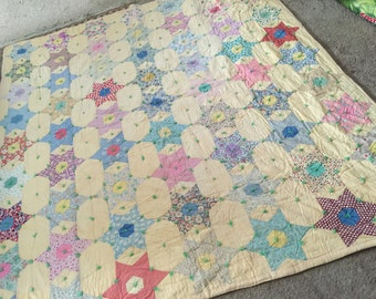 40s 50s Feedsack Star Quilt