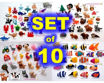 CHOOSE 10 items from many lists in the store! - felt magnets or ornaments, toys, felt animals