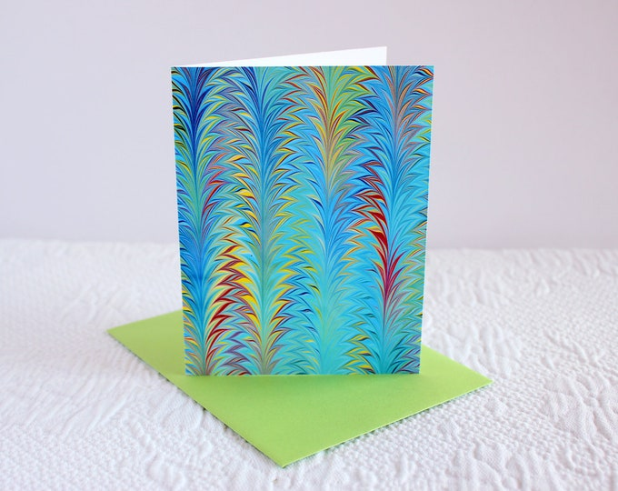Featured listing image: Truffula Trees Blank Notecard Stationery Print, Any Occasion Card, Thank You Note, Greeting Card - Marbled Art Print