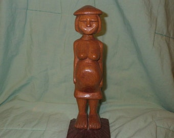 Hand Carved Wooden, Pregnant Woman Statue, Fertility