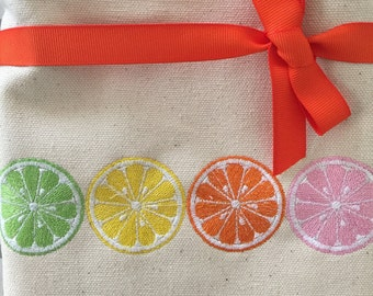 Personalized Citrus Canvas Tote