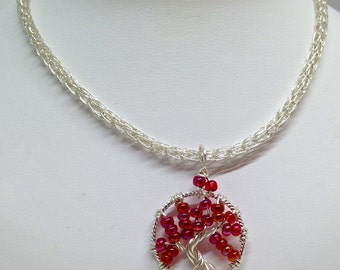 Ruby red tree of life wire wrapped pendant with viking knit chain