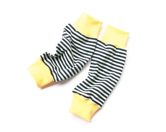 Summer leg warmers, organic jersey leg warmers, baby leg warmers, baby legwarmers, black striped leg warmers