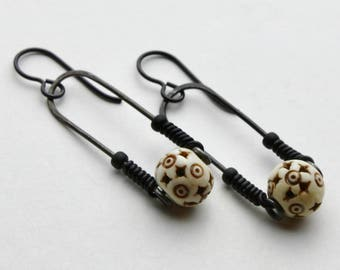 Steel Trapeze Earrings with Carved Bone Beads