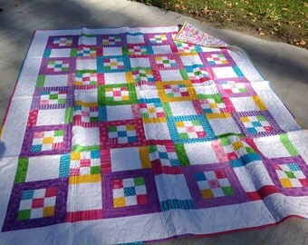 Bright Tile Tango Quilt, bright, pink, yellow, aqua, green, lavendar, little girl, 9-patch, handmade, floran back