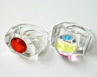 2 LUCITE Rings Clear with Sommerso Rainbow Globe and Red Jewel Spectacular Sizes 6 and 8